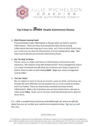 3 Steps to Thrive with Autoimmune Disease eGuide